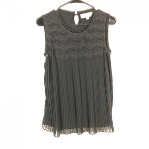 Loft Pleated Black Tank Top Size Small Lace Detail